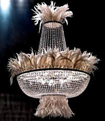 Crystal Chandelier with Ostrich feathers