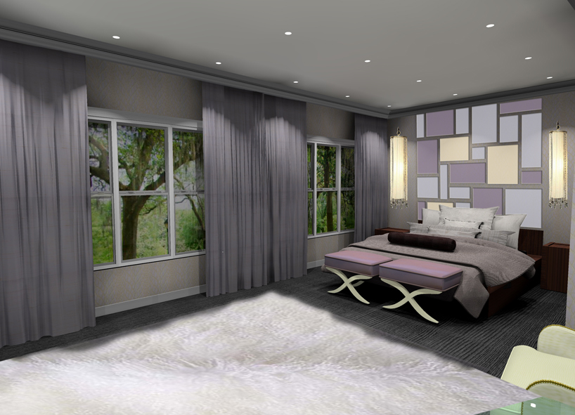 mave and blu themed contemporary bedroom with matching silk drapes and fabric headbaord in 3 colors at bed with 2 matching contemporary ottomans