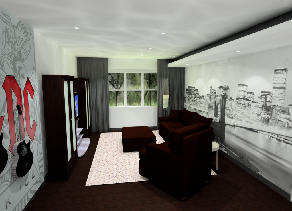 casual mancave room with AC?DC band logo wallpaper and black/white wallpaper with city scene on back wall