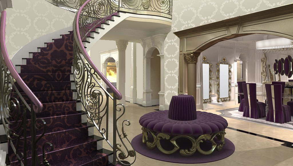 formal living room foyer with baroche patter curved stairwell carpet and a sale style highback round ottoman in eggplant color