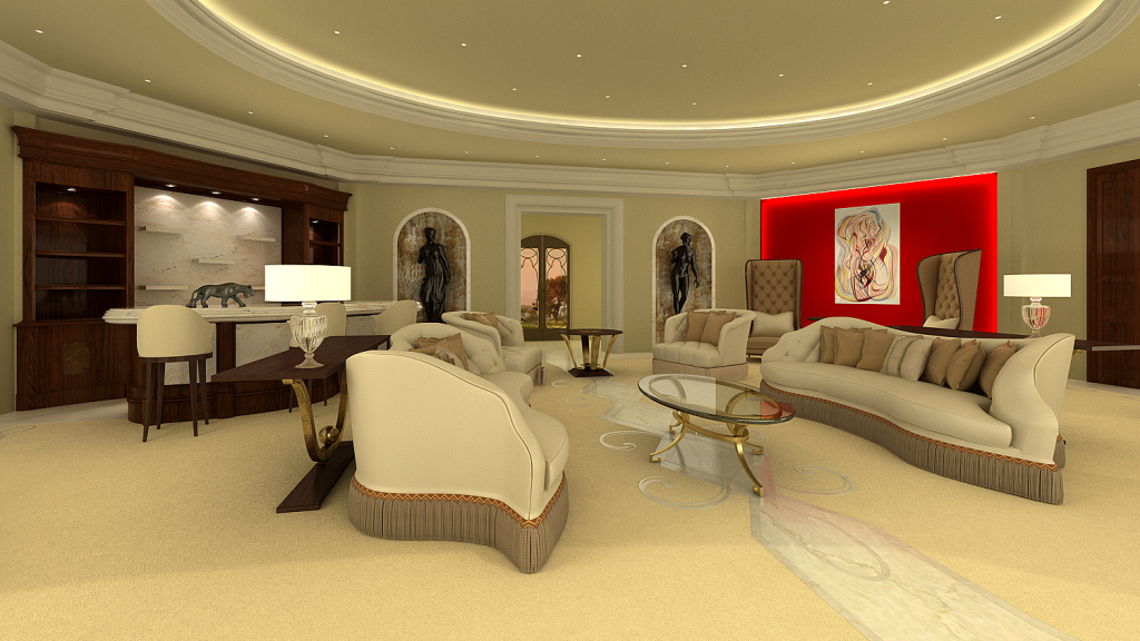 Contemporary interior design rendering of a living room with red art wall and contemporary sofas and bar and sofa table