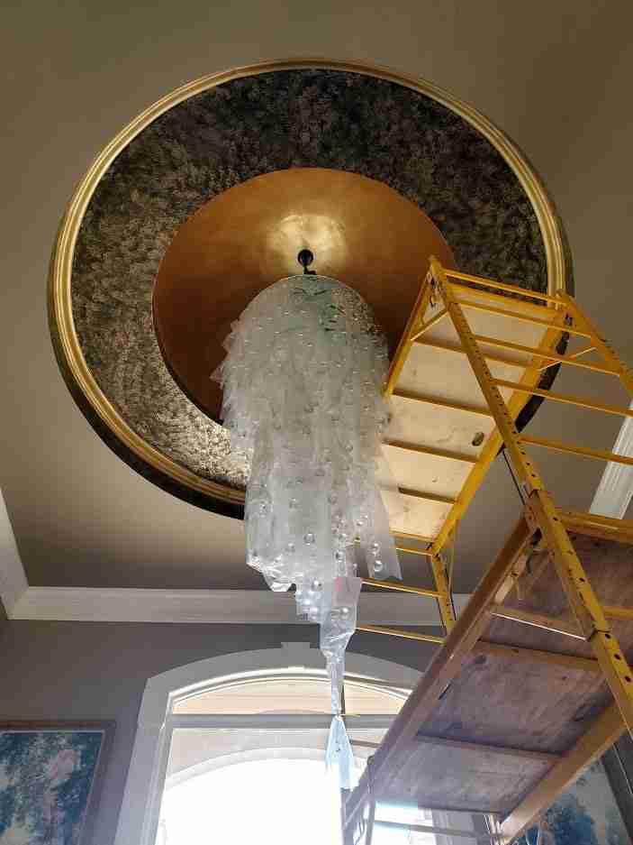 12' long hanging crystal ball installation