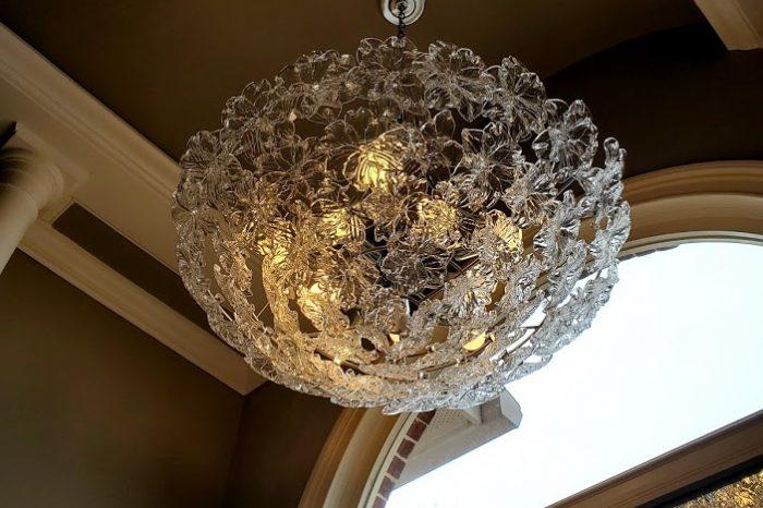 Murano Glass chandelier over hottub