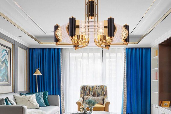 Postmodern Stainless Steel/Mirror Titanium Gold Chandelier